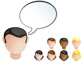People Heads Speech Bubble. Set of 4 hair and skin colors