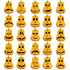 Big set of 15 Halloween pumpkins with different faces