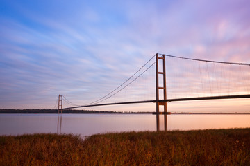 view of humber bridge at sunrise