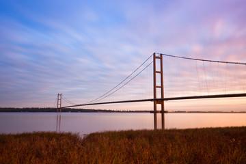 view of humber bridge at sunrise