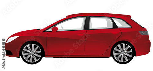 red station wagon isolated on white