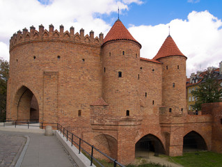 old brick fort Barbakan in Warsaw, Poland