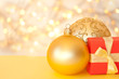 Christmas decoration  and present on defocused lights background