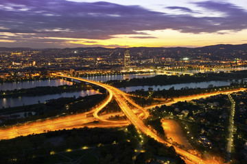 Vienna with Danube River & Island (Donauinsel), highway junction