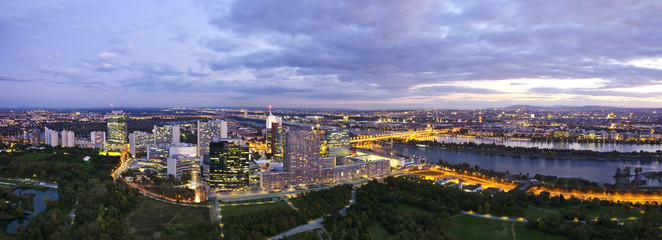 Panorama - Skyline of Donau City Vienna at the danube river