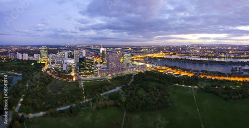 Panorama of the amazing Skyline of Donau City Vienna