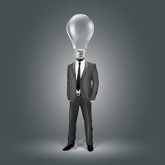 Businessman with Light Bulb Head