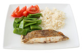Fried flounder with rice and vegetables poster