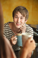 Man Enjoys Coffee or Tea