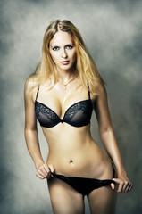 Fashion portrait of sexy underwear model