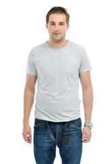 healthy fit young man islated on white background