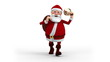 Cartoon Santa Claus walking with gift bag and bell - front