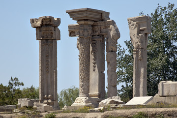 Ancient Ruins Pillars Old Summer Palace Yuanming Yuan Beijing Ch