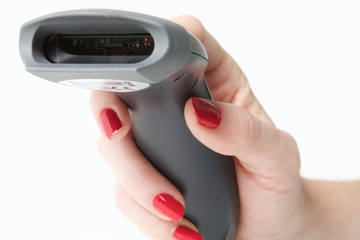 Woman holding a handheld barcode reader