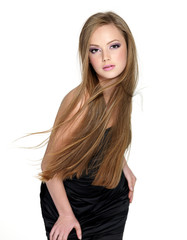 Pretty teen girl with long straight hair