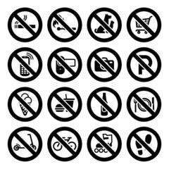 Set prohibited symbols, shop black signs