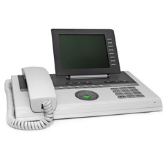 grey and black office IP phone with big lcd empty space display