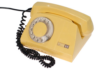 yellow retro phone