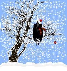 Christmas and a raven
