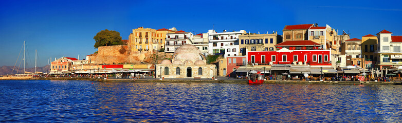 beautiful port of Chania, Crete, Greece