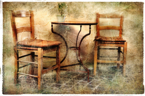 old chairs - tavernas of Greece, artistic retro picture