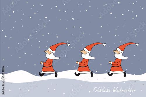 GamesAgeddon - Weihnachtskarte mit Weihnachsmänner im Schnee ...