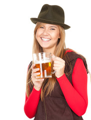 pretty girl in hat drinking beer from the mug