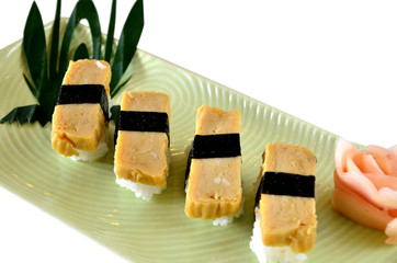 Tamago yaki is sushi using an egg