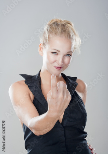 Poster girl showing come on gesture