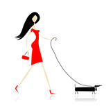 Woman in red dress walking with dog
