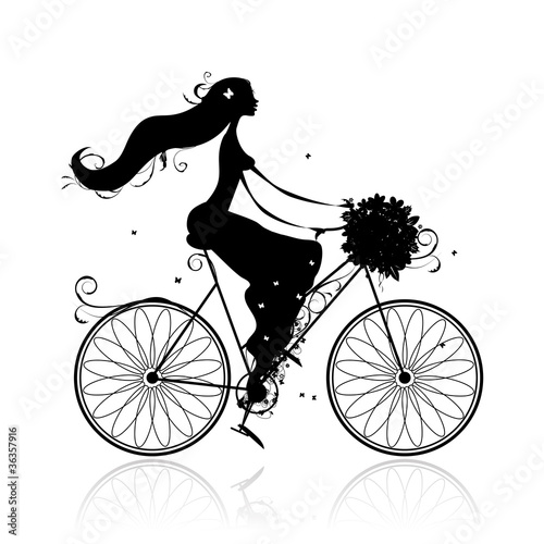 Girl with floral bouquet cycling © Kudryashka