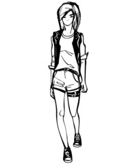 a sketch of a girl in sneakers and shorts are directly