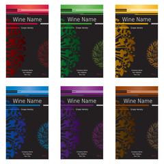 Ensemble Etiquettes de Vins - Couleurs Variées