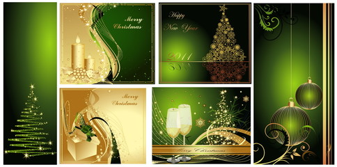Merry Christmas background collections gold and green