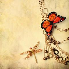beads over grunge background