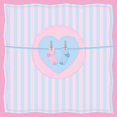 Boy or girl birth postcard with baby socks.