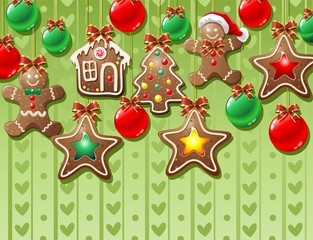 Natale Biscotti Decorazioni-Gingerbread Ornamental Background