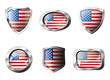 USA America set shiny buttons and shields of flag with metal fra