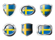 Sweden set shiny buttons and shields of flag with metal frame -