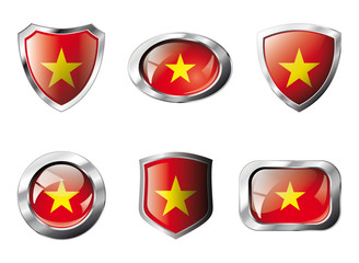 Vietnam set shiny buttons and shields of flag with metal frame -