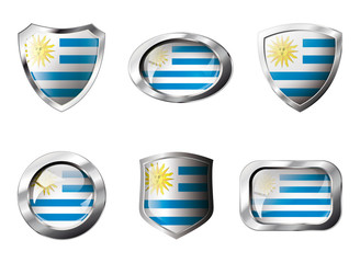 Uruguay set shiny buttons and shields of flag with metal frame -