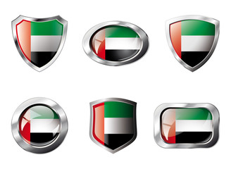 United arab emirates set shiny buttons and shields of flag with