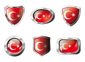 Turkey set shiny buttons and shields of flag with metal frame -