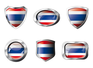 Thailand set shiny buttons and shields of flag with metal frame