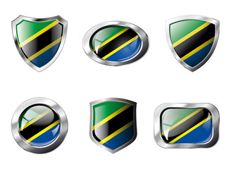 Tanzania set shiny buttons and shields of flag with metal frame