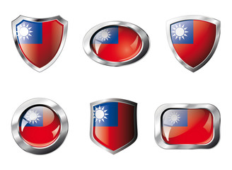 Taiwan set shiny buttons and shields of flag with metal frame -