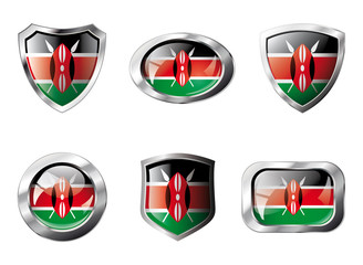 Kenya set shiny buttons and shields of flag with metal frame - v