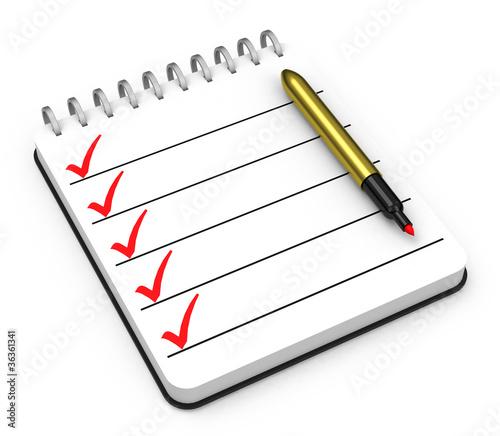 die checkliste von lizenzfreies foto 36361341 auf. Black Bedroom Furniture Sets. Home Design Ideas