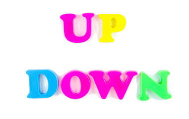 up and down written in fridge magnets
