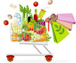 Supermarket shopping cart with food - 36369953